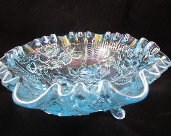 Imperial Glass Ice Blue, Footed Dish, Candy Dish, Carnival Glass, Blue Rose
