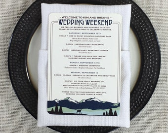 Colorado Rocky Mountains Wedding Weekend Itinerary Card // Wedding Weekend Timeline // Destination Wedding Itinerary