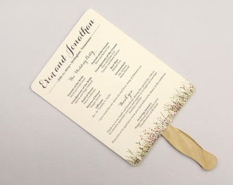 Rustic Wildflower Summer Wedding Program Fan