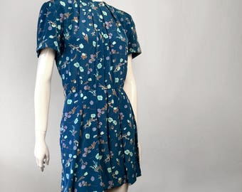 Reworked Revamped Repurposed Blue Floral Print Vintage Dress