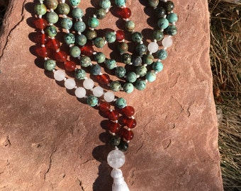 Natural Gemstone 108 Bead 8mm Mala / Prayer Beads / Necklace  - African Turquoise Jasper, Carnelian, Quartz