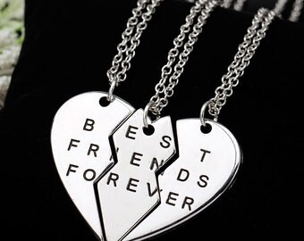 """Silver 3 Piece Heart """"Best Friends Forever"""" Inscribed Necklaces NK4067i"""