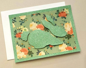 Hand-Cut Bunny Any Occasion Card / Note Card / Happy Easter Card / Unique / Animal Cards / Sparkly Card / Green / Stationery / Floral