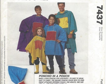 McCalls, 7437, Rain Poncho, Sewing Pattern, Hooded Poncho, Poncho Pouch, Kid Poncho, Men Poncho, Womens Poncho, Misses, Vintage, 1995, Uncut