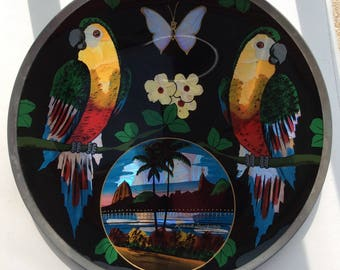 Rio de Janeiro Souvenir Butterfly Wings, Wall Hanging Plate.