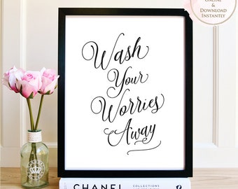 Printable wall art, Wash Your Worries Away, Bathroom, Print, Art, Printable Quote, Spa Print, Bathroom Printable, Printable Gift, Spa