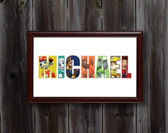 Personalized Paw Patrol Wall Art