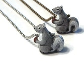 Squirrel necklace Squirrel jewelry Squirrel charm Woodland animals Woodland necklace Forest animals Animal lover Gift Animal totem