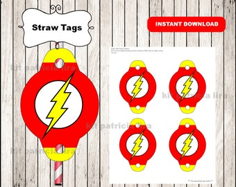 The flash logo Straw tags instant download , The flash Straw tags, The flash party straw tags