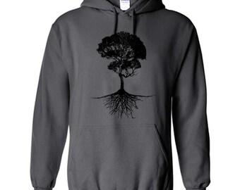 Bonzai Tree with Roots Hoodie Sweatshirt Pullover Jumper Bonzi Nature