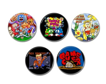 80s Eight Bit video games badges, buttons (8 bit games, pixel art, pixel games)