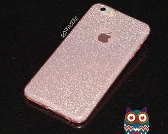 Pink Glitter Fashion 3 in 1 Design Phone Case Flexible TransparentSilicone TPU Glitter Paper Frosted PC iPhone Case | Free Screen Protector