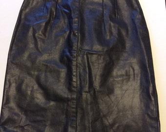 Vintage Pickasoe Black Genuine Leather Mini Skirt