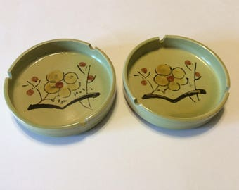 Vintage Pair of Japanese Ceramic Ashtrays
