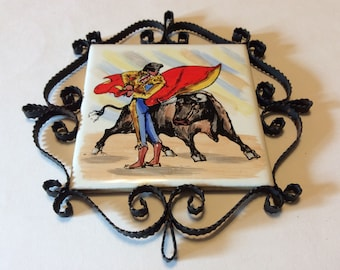 Vintage Ceramic Tile Trivet With a Matador and Bull