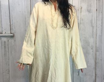 Vintage Indian Cotton Dress// 1970s Indian Cotton Caftan// Boho Ethnic Folk Art Dress// Indian Tunic Kaftan L XL