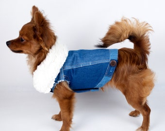 Denim Color Block Dog Jacket With Faux Sheepskin Collar Size XS or M