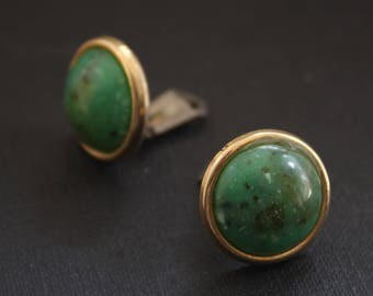 Mothers Day Gift Green Clip On Earrings, Vintage Boho Earrings, Clip On Earrings Vintage, Green Earrings, Round Stud Earrings, Round Earring