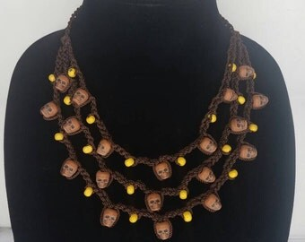 Brown and yellow beaded crochet skull necklace- Dia de los muertos