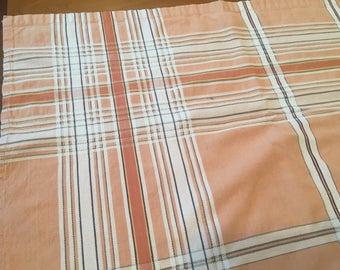 Vintage plaid tablecloth / light orange with dark orange and grey stripes / from Pakistan