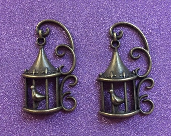 2 Antique Bronze Bird in a Cage Charms