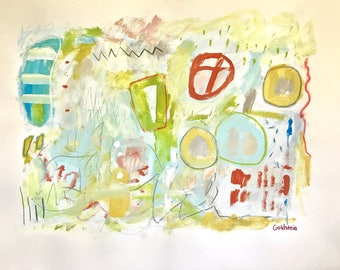 Original Abstract Art on paper, mixed media, home decor