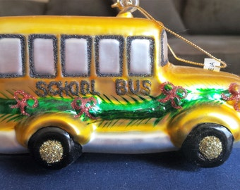 Blown Glass School Bus Holiday Ornament