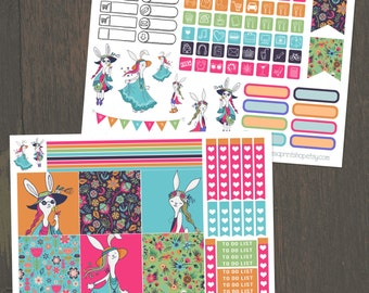 Bohemian Bunnies, Mini Happy Planner, 2 Page Planner Sticker Kit, Weekly Kit, Checklists, Icons, Bunny Stickers, Mini Stickers, BuJo