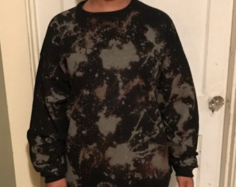 Black/Grey bleach-dyed sweatshirt