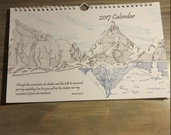 2017 Handmade Spiritual Wall Calendar, Hand-drawn images with Bible Verses