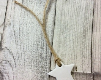 Plain Star Clay Favour Tags - Rustic, Vintage, Clay, Boho Wedding Gifts For Guests, Wedding Favours