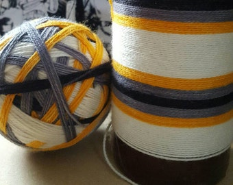 Hand Dyed Self Striping Sock Yarn ~ Little Droid ~White, orange,silver,black stripes
