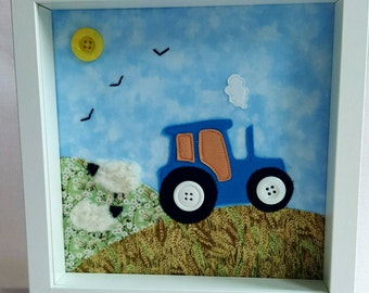 Nursery Wall Art - Tractor handmade fabric picture