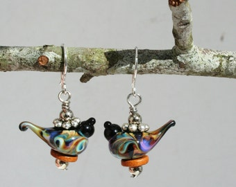 Lampwork black bird earrings