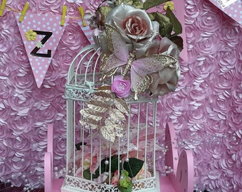 Bridal Bird Cage Decorated Perfectly for a Christmas or Winter Wedding or Baby Shower!