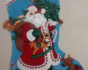 "18"" felt Christmas Stocking - Traditional Santa"