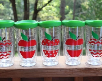 16 oz Double Wall Acrylic Teacher Tumblers//Chevron//Polka Dots//Apples w/ Green Lid