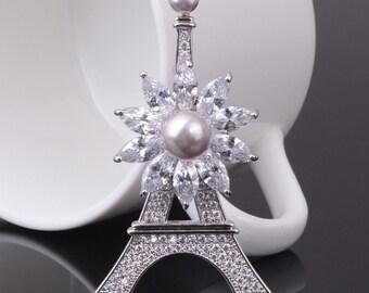 "Fashion Gift Accessories Brooch ""Eiffel Tower"" Zircon Scarf Lapel Pin"