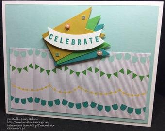 Celebration Card, Handmade Card, 'Celebrate' Card, Blue Celebration Card, Congratulations Card, Pastel Card, Stampin' Up! Designs
