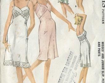 "1962 Vintage Sewing Pattern B31"" SLIP, PETTIPANTS & PANTS (R619) McCalls 6590"
