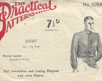 1940s Vintage Sewing Pattern MEN'S SHIRT S:15 1/2 (R883) By Practical 1053