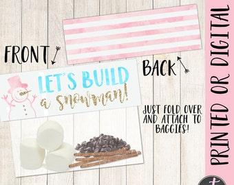 Build A Snowman Topper, Pink Aqua Onederland Bag Topper, Winter Onederland Party Bag Tag, Winter Birthday Favor, Snowman Party