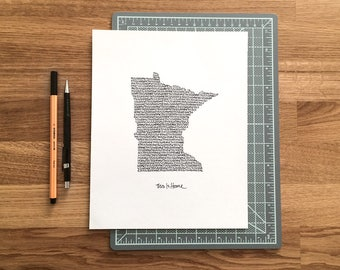 Minnesota Print - 8x10, Hand Drawn, Art Print, Wall Art, Home State Decoration, Gift for Him, Gift for Her, State Pride, Word Art