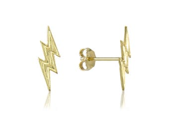 14K Solid Yellow Gold Lightning Bolt Stud Earrings - Thunder