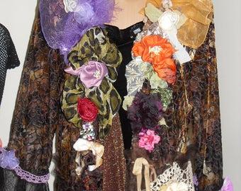 Beautiful unique hand-crocheted lace on velvet silk jacket, silk flowers, black lace, voile.