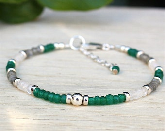 Bracelet 925 solid silver Pearl and green onyx stones