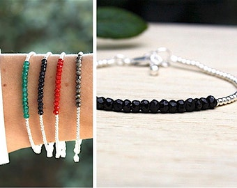 Bracelet stones of gems to choose and massive silver beads