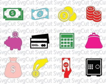 Money svg, Dollar bills, Vallet, Calculator cut file, Money file set digital cutting machines, Money clipart files instant download designs