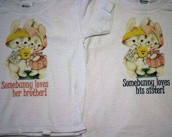 Brother and Sister matching Easter shirts/Twin Easter bodysuits/Twin Easter shirts/Boy Girl Twin Easter shirts/Boy Girl Twin Spring shirts