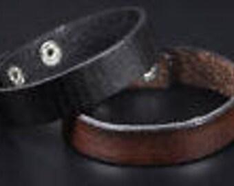 Black Leather Strap Bracelet Cuff Brown